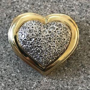 Jewelry - Heart shape Slider Pendant, 14K and diamond pave'.